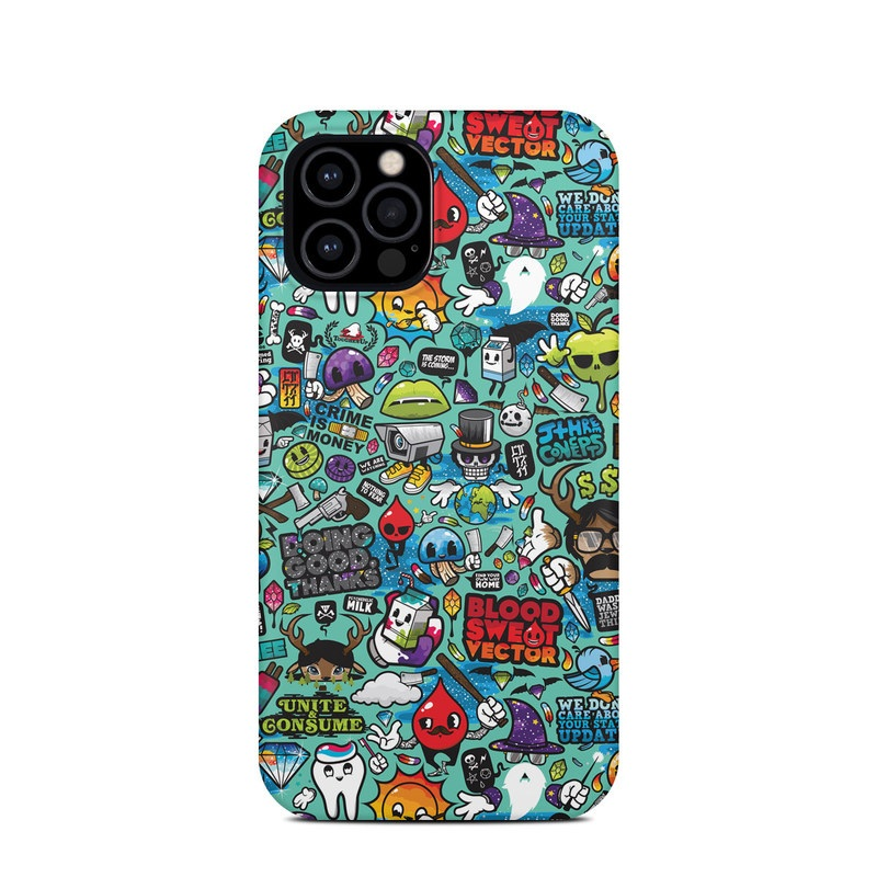 iPhone 12 Pro Clip Case design of Cartoon, Art, Pattern, Design, Illustration, Visual arts, Doodle, Psychedelic art with black, blue, gray, red, green colors