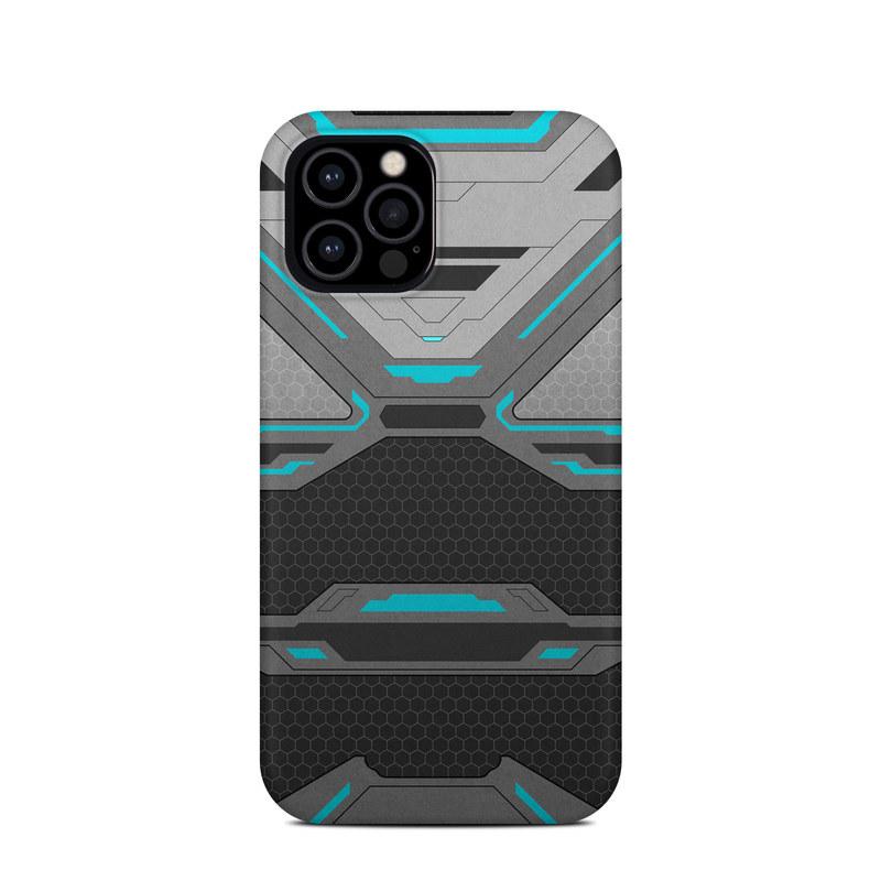 iPhone 12 Pro Clip Case design of Blue, Turquoise, Pattern, Teal, Symmetry, Design, Line, Automotive design, Font with black, gray, blue colors