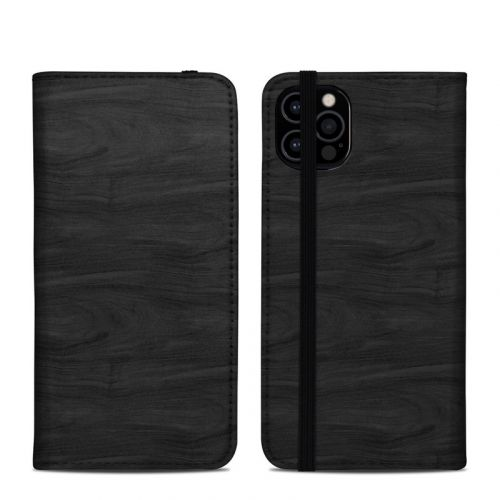 Black Woodgrain iPhone 12 Pro Folio Case