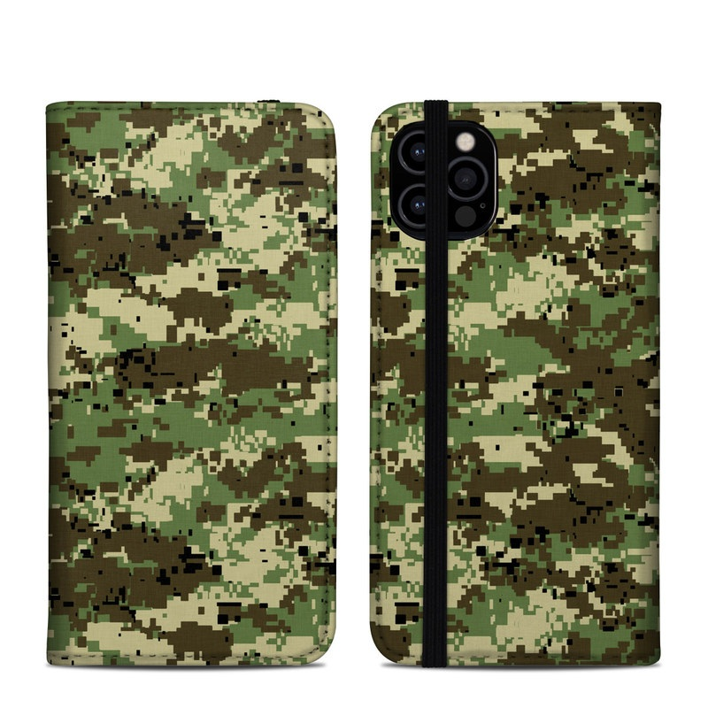 iPhone 12 Pro Folio Case design of Military camouflage, Pattern, Camouflage, Green, Uniform, Clothing, Design, Military uniform with black, gray, green colors