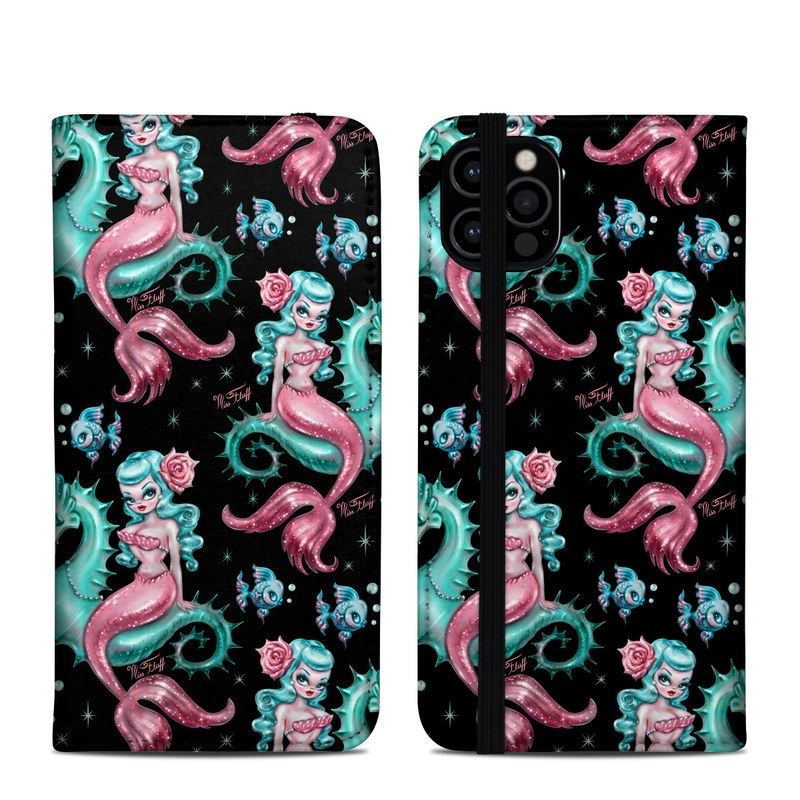 iPhone 12 Pro Folio Case design of Pink, Pattern, Illustration, Organism, Design, Art, Textile, Visual arts, Graphic design, Fictional character with black, green, pink, yellow colors