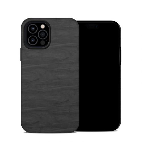 Black Woodgrain iPhone 12 Pro Hybrid Case