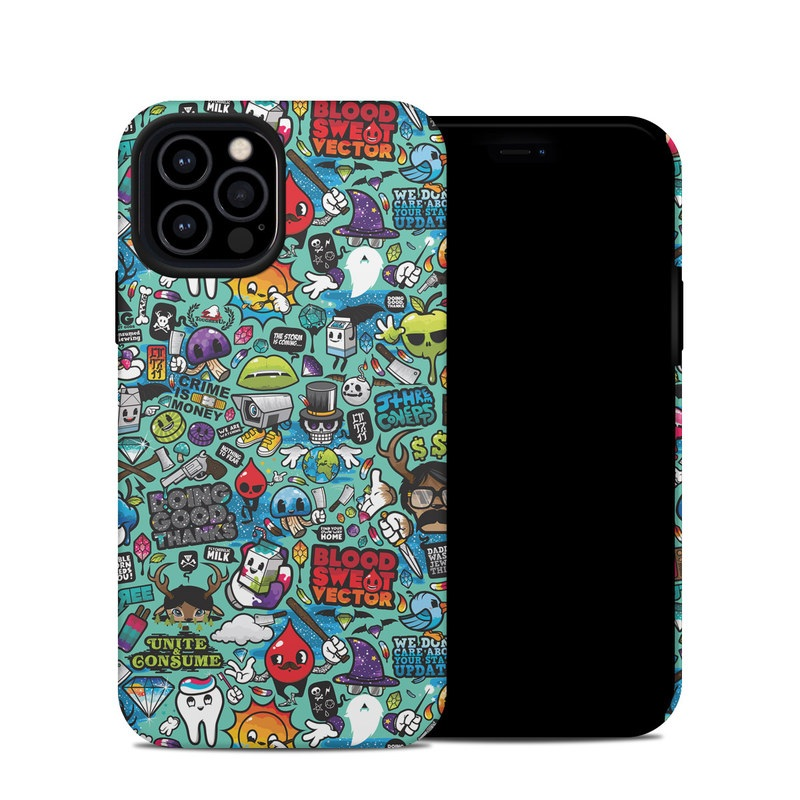 iPhone 12 Pro Hybrid Case design of Cartoon, Art, Pattern, Design, Illustration, Visual arts, Doodle, Psychedelic art with black, blue, gray, red, green colors