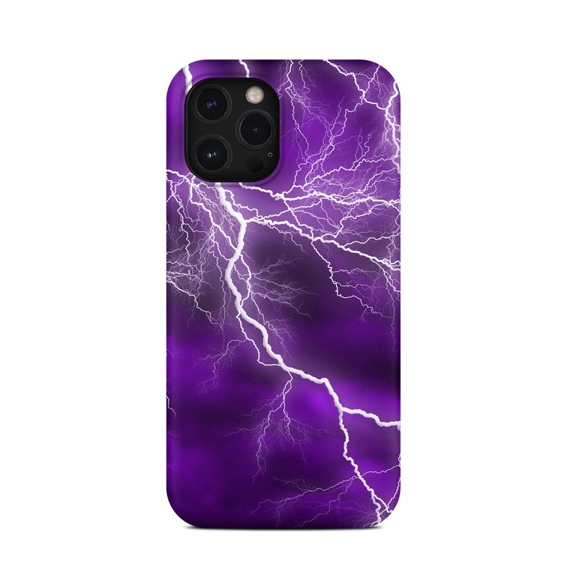 iPhone 12 Pro Max Clip Case design of Thunder, Lightning, Thunderstorm, Sky, Nature, Purple, Violet, Atmosphere, Storm, Electric blue with purple, black, white colors