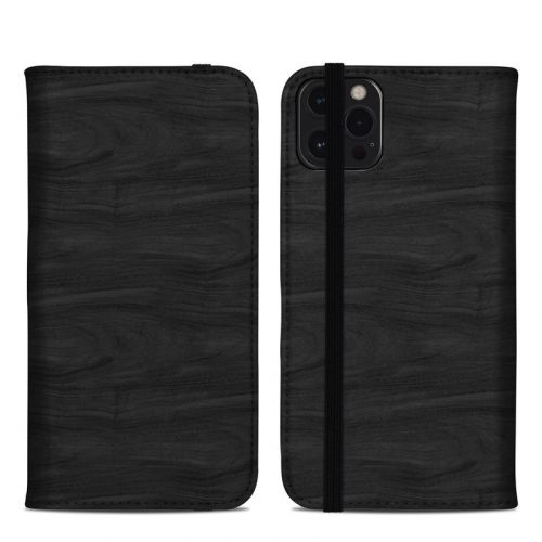 Black Woodgrain iPhone 12 Pro Max Folio Case