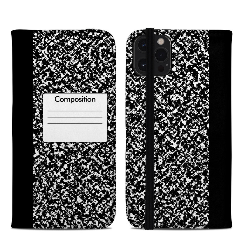 iPhone 12 Pro Max Folio Case design of Text, Font, Line, Pattern, Black-and-white, Illustration with black, gray, white colors