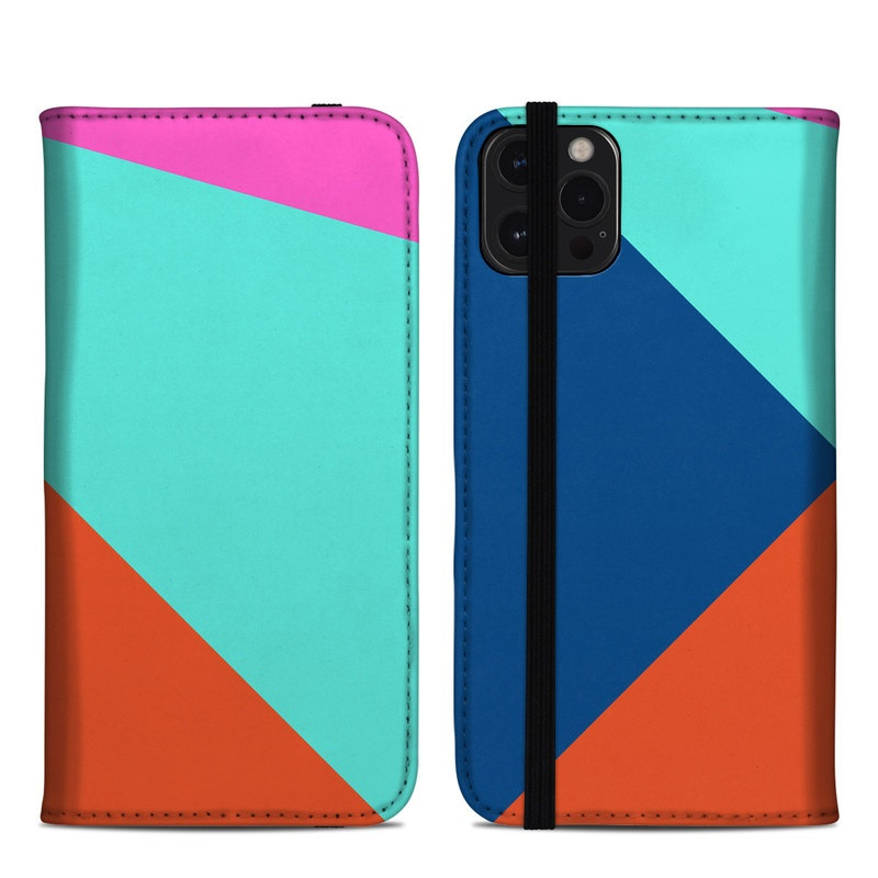 iPhone 12 Pro Max Folio Case design of Blue, Colorfulness, Turquoise, Line, Azure, Triangle, Pattern, Graphic design, Magenta with blue, pink, orange, red colors