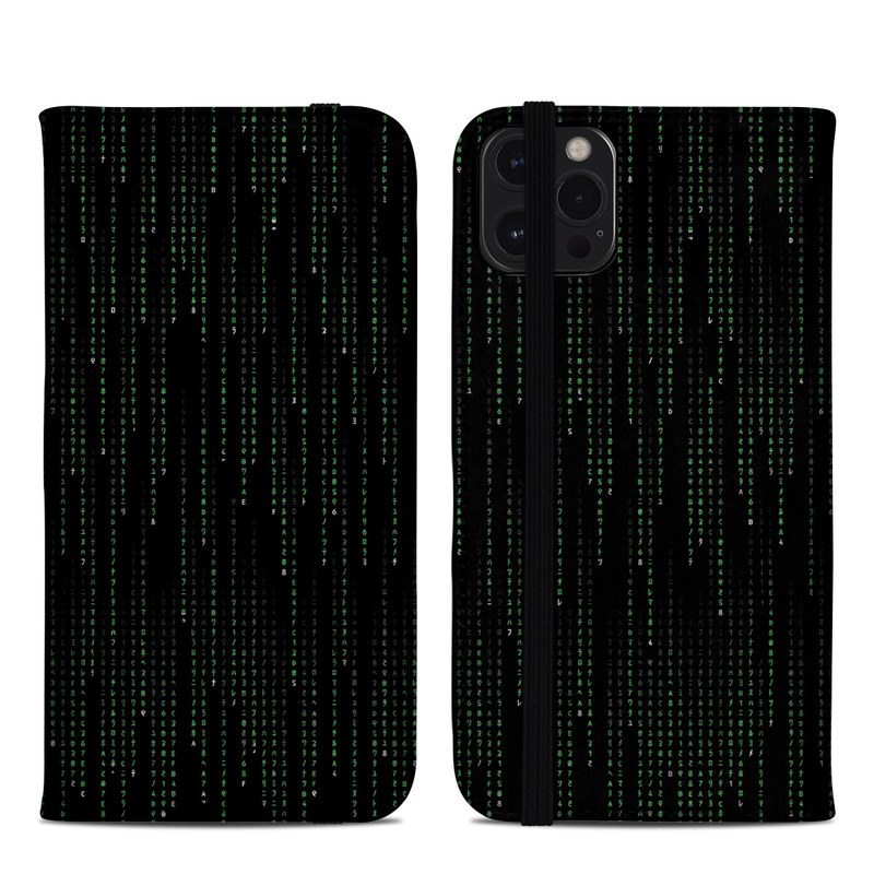 iPhone 12 Pro Max Folio Case design of Green, Black, Pattern, Symmetry with black colors