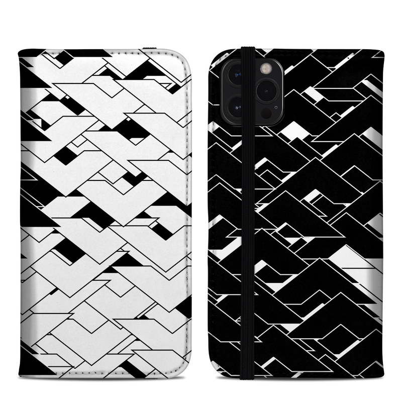 iPhone 12 Pro Max Folio Case design of Pattern, Black, Black-and-white, Monochrome, Monochrome photography, Line, Design, Parallel, Font with black, white colors