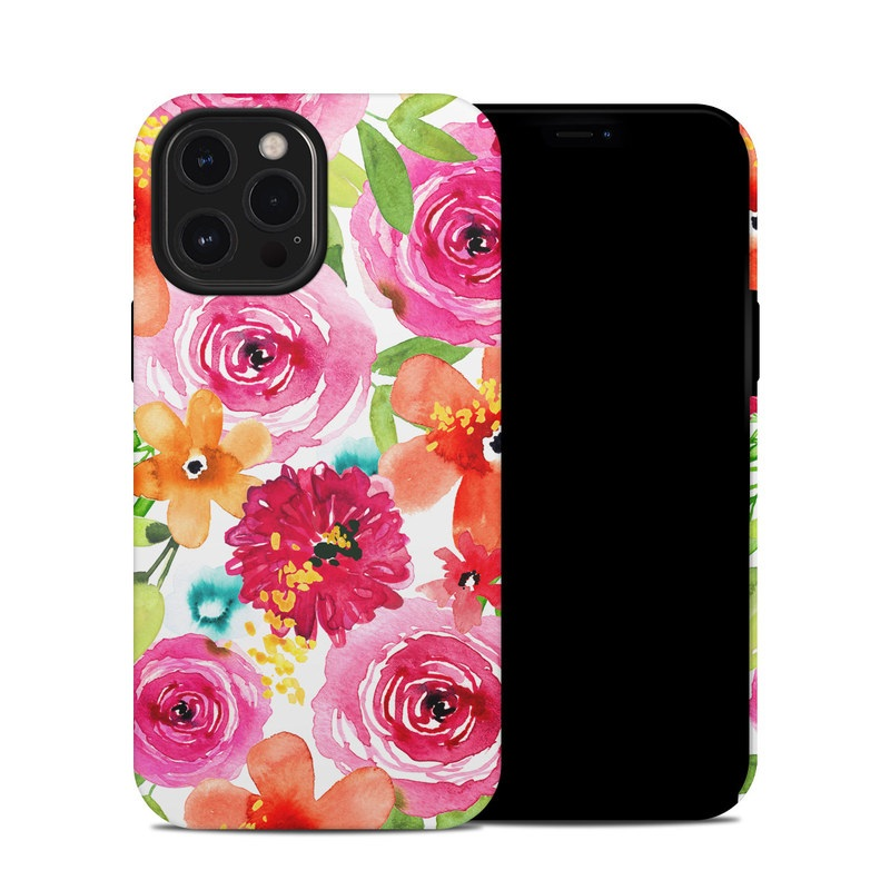 iPhone 12 Pro Max Hybrid Case design of Flower, Cut flowers, Floral design, Plant, Pink, Bouquet, Petal, Flower Arranging, Artificial flower, Clip art with pink, red, green, orange, yellow, blue, white colors