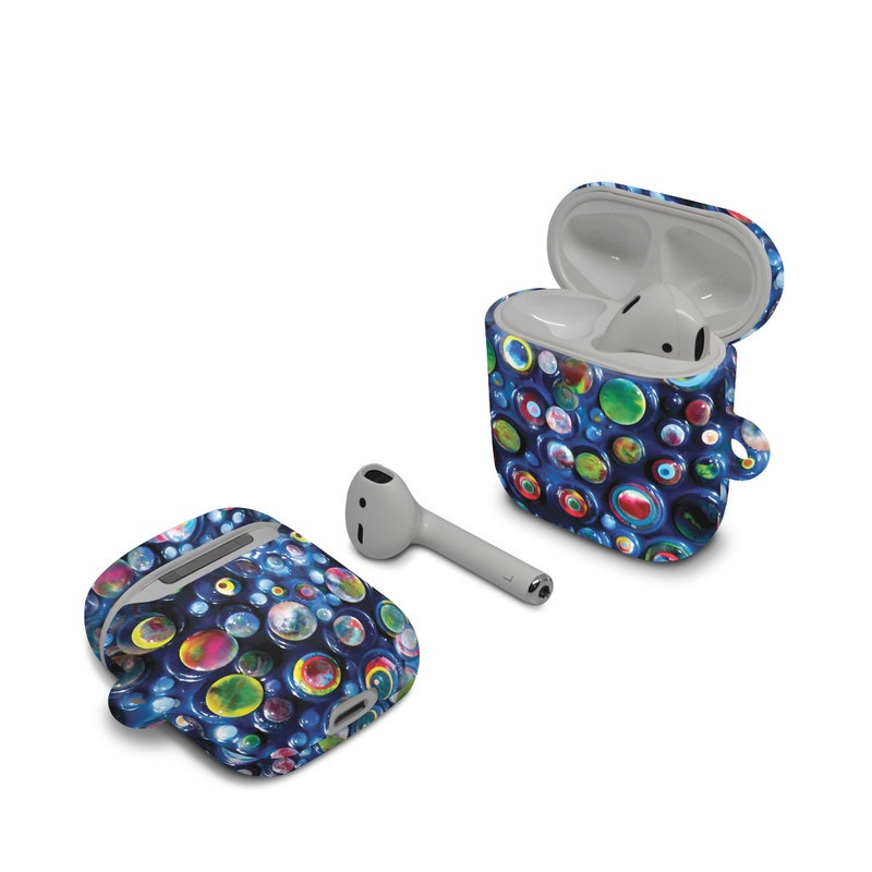 Apple AirPods Case design of Blue, Pattern, Glass, Colorfulness with blue, green, red, green, orange colors
