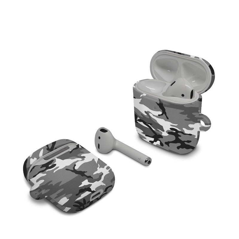Apple AirPods Case design of Military camouflage, Pattern, Clothing, Camouflage, Uniform, Design, Textile with black, gray colors