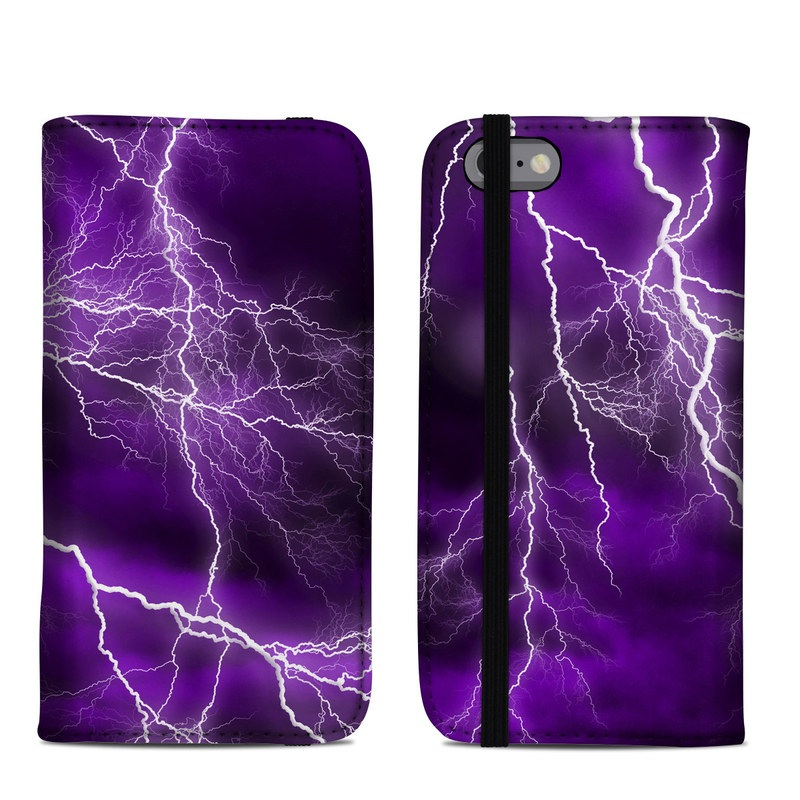 iPhone 6s Folio Case design of Thunder, Lightning, Thunderstorm, Sky, Nature, Purple, Violet, Atmosphere, Storm, Electric blue with purple, black, white colors