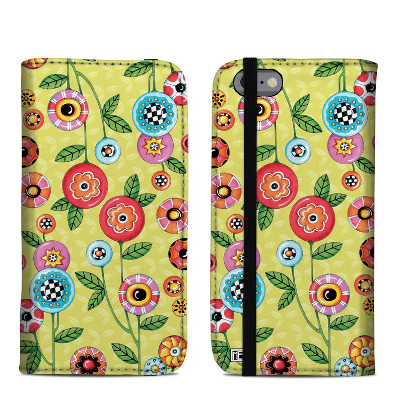 iPhone 6s Folio Case design of Wrapping paper, Pattern, Textile, Design, Visual arts, Wildflower, Art, Plant, Child art, Flower with green, blue, red, yellow, orange, pink colors