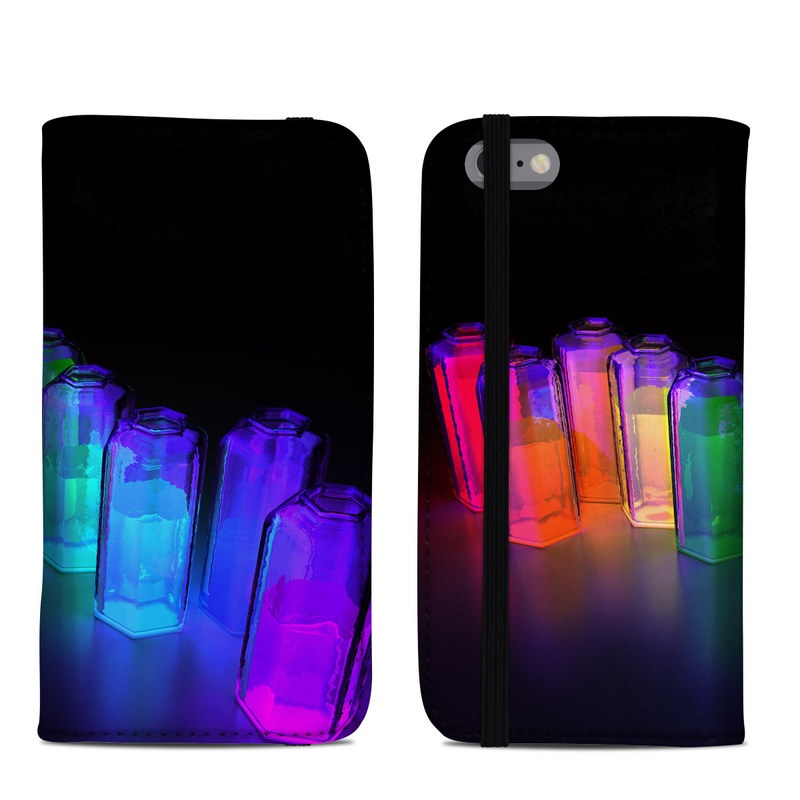 iPhone 6s Folio Case design of Light, Water, Transparent material, Glass, Bottle, Glass bottle, Drinkware, Chemistry, Transparency with black, blue, red colors
