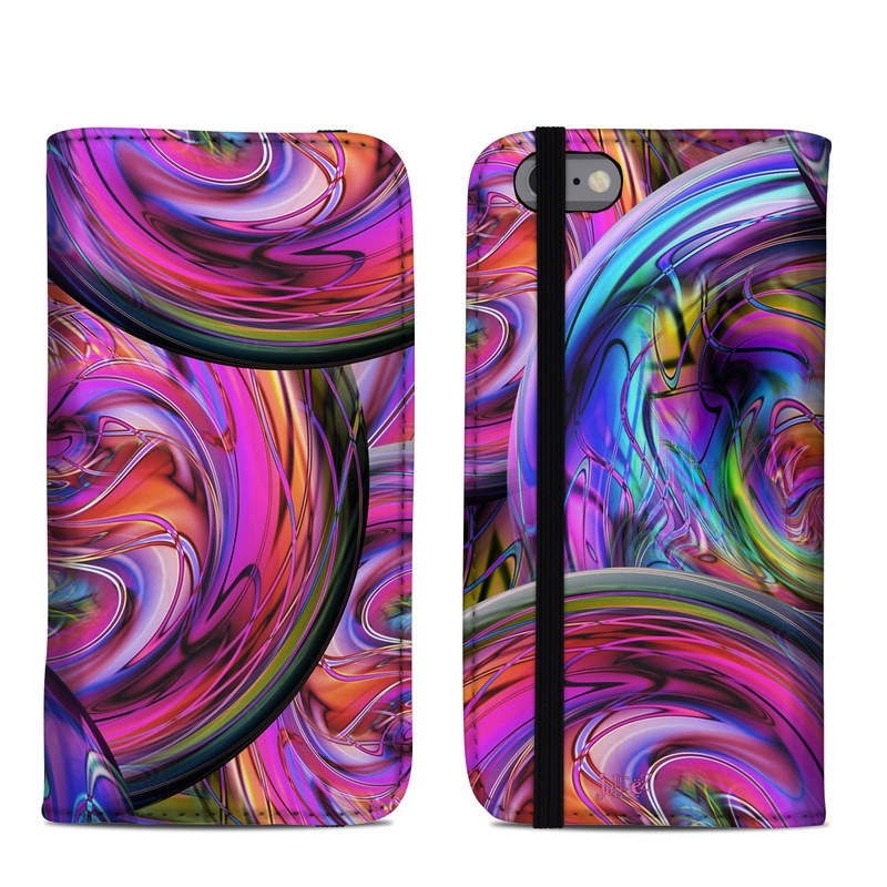 iPhone 6s Folio Case design of Pattern, Psychedelic art, Purple, Art, Fractal art, Design, Graphic design, Colorfulness, Textile, Visual arts with purple, black, red, gray, blue, green colors
