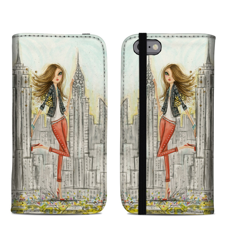 iPhone 6s Folio Case design of Human settlement, Fashion illustration, Illustration, City, Art, Architecture, Drawing, Fictional character with gray, green, black, red colors