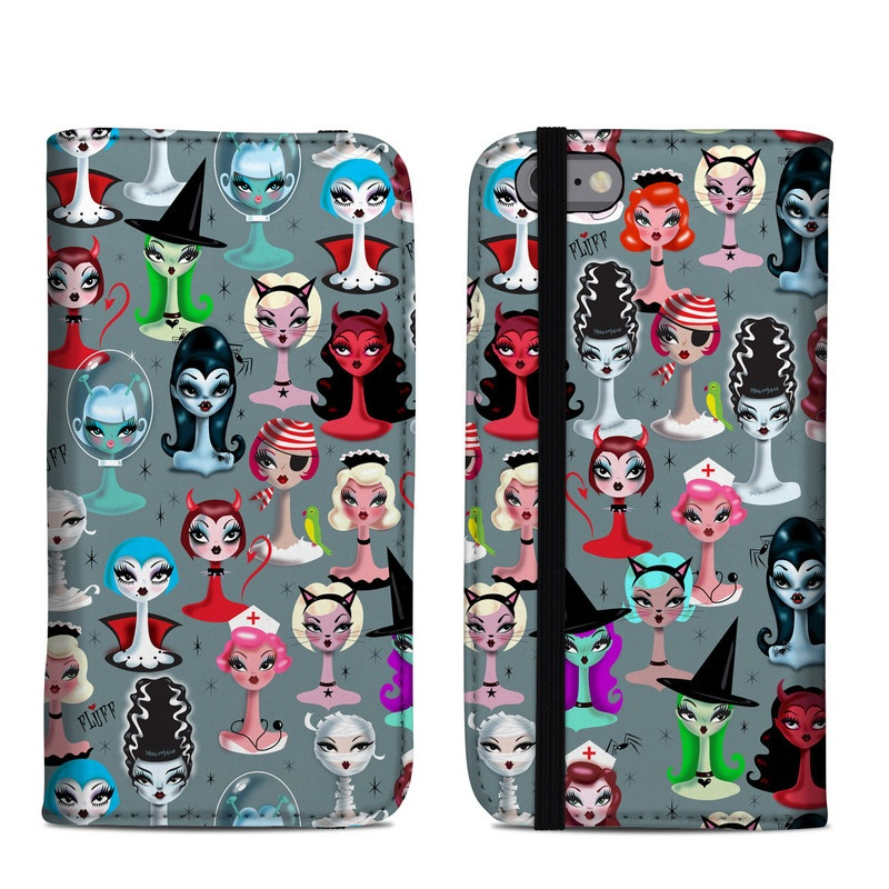 iPhone 6s Folio Case design of Facial expression, Head, Design, Collection, Fictional character, Pattern, Skull, Illustration, Collage, Style with gray, white, red, blue, green, black, pink, purple colors