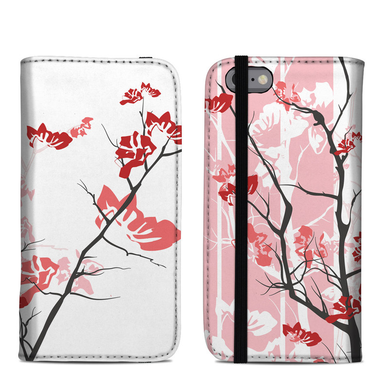 iPhone 6s Folio Case design of Branch, Red, Flower, Plant, Tree, Twig, Blossom, Botany, Pink, Spring with white, pink, gray, red, black colors