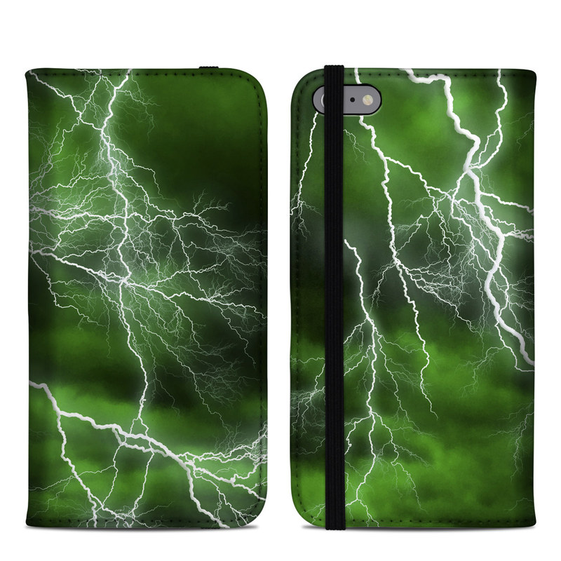iPhone 6s Plus Folio Case design of Thunderstorm, Thunder, Lightning, Nature, Green, Water, Sky, Atmosphere, Atmospheric phenomenon, Daytime with green, black, white colors