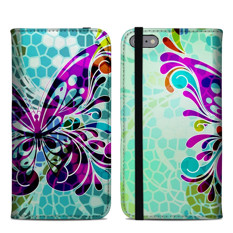 iPhone 6s Plus Folio Case design of Butterfly, Pattern, Insect, Moths and butterflies, Purple, Graphic design, Design, Pollinator, Visual arts, Magenta with blue, green, purple colors