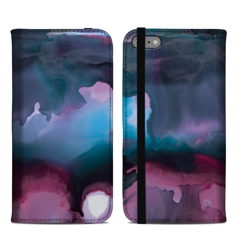 iPhone 6s Plus Folio Case design of Watercolor paint, Purple, Painting, Ice, Magenta, Sky, Art, Cloud, Paint, Modern art with black, white, purple, blue, red colors