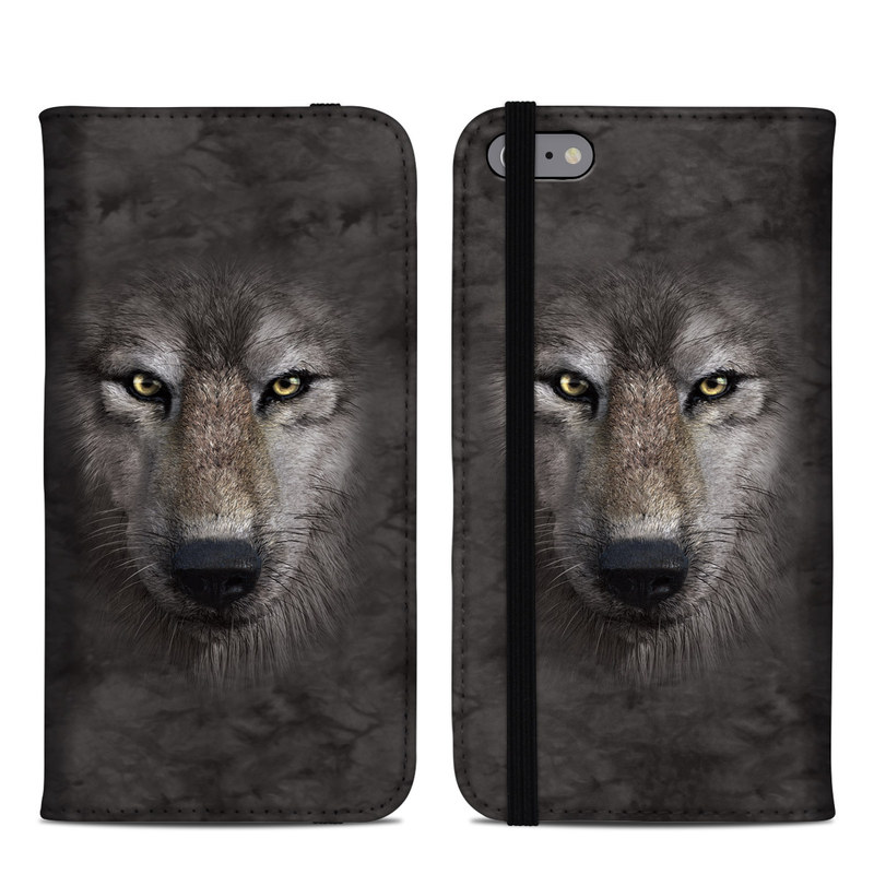 iPhone 6s Plus Folio Case design of Vertebrate, Mammal, Wolf, Canidae, Wildlife, Snout, Czechoslovakian wolfdog, Eye, Wolfdog, Canis with black, gray, red, green colors