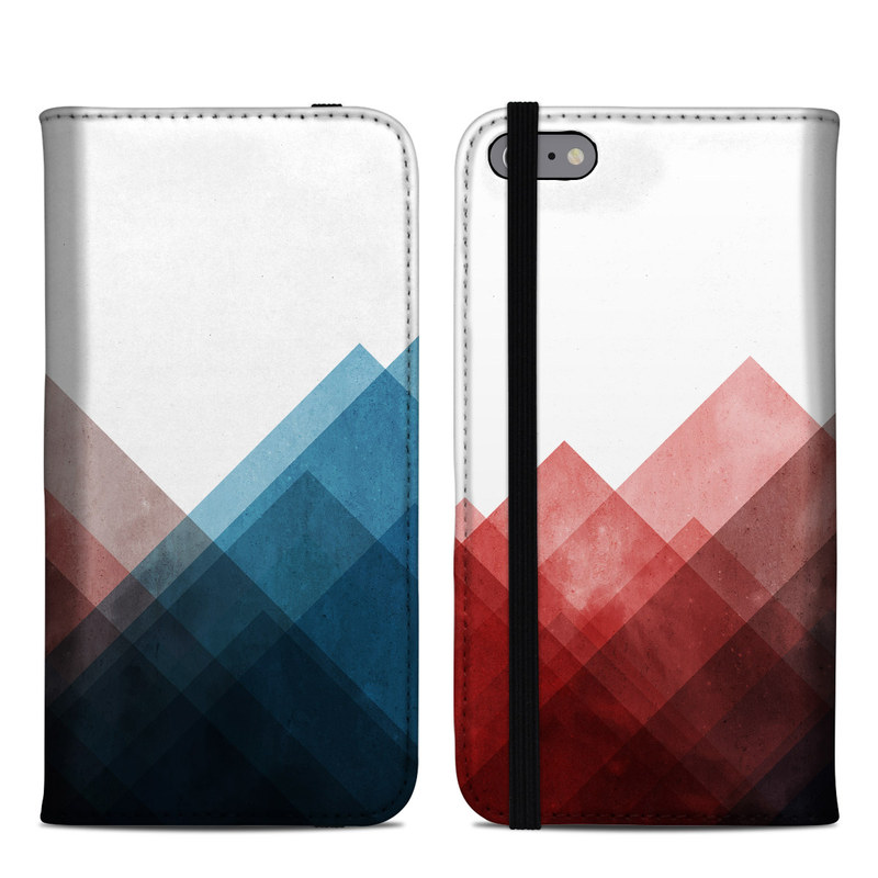 iPhone 6s Plus Folio Case design of Blue, Red, Sky, Pink, Line, Architecture, Font, Graphic design, Colorfulness, Illustration with red, pink, blue colors