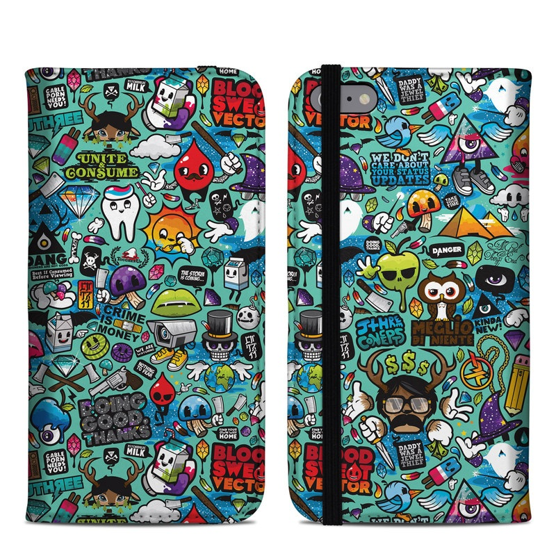 iPhone 6s Plus Folio Case design of Cartoon, Art, Pattern, Design, Illustration, Visual arts, Doodle, Psychedelic art with black, blue, gray, red, green colors