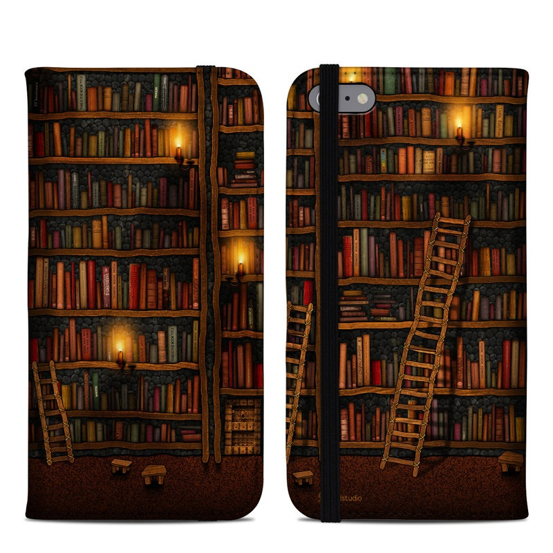 iPhone 6s Plus Folio Case design of Shelving, Library, Bookcase, Shelf, Furniture, Book, Building, Publication, Room, Darkness with black, red colors