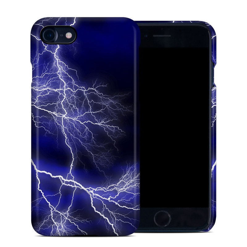 iPhone 8 Clip Case design of Thunder, Lightning, Thunderstorm, Sky, Nature, Electric blue, Atmosphere, Daytime, Blue, Atmospheric phenomenon with blue, black, white colors