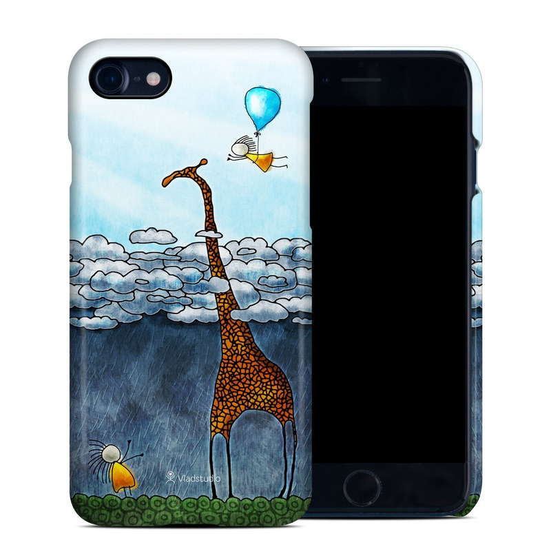 iPhone 8 Clip Case design of Giraffe, Sky, Tree, Water, Branch, Giraffidae, Illustration, Cloud, Grassland, Bird with blue, gray, yellow, green colors