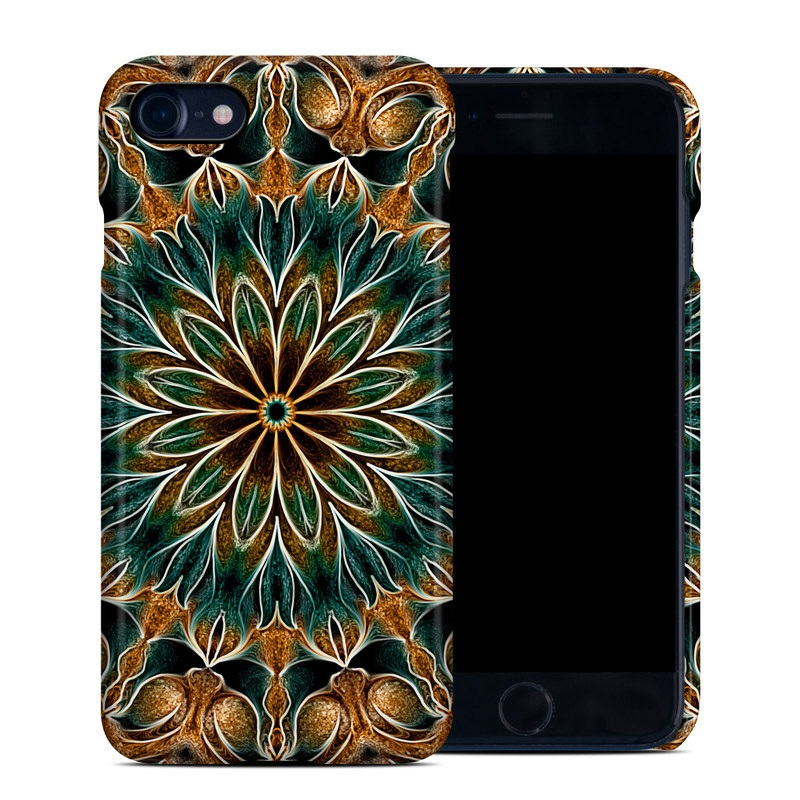 iPhone 8 Clip Case design of Pattern, Symmetry, Textile, Art, Psychedelic art, Tapestry, Design, Visual arts, Kaleidoscope, Motif with green, orange, yellow, brown, red colors