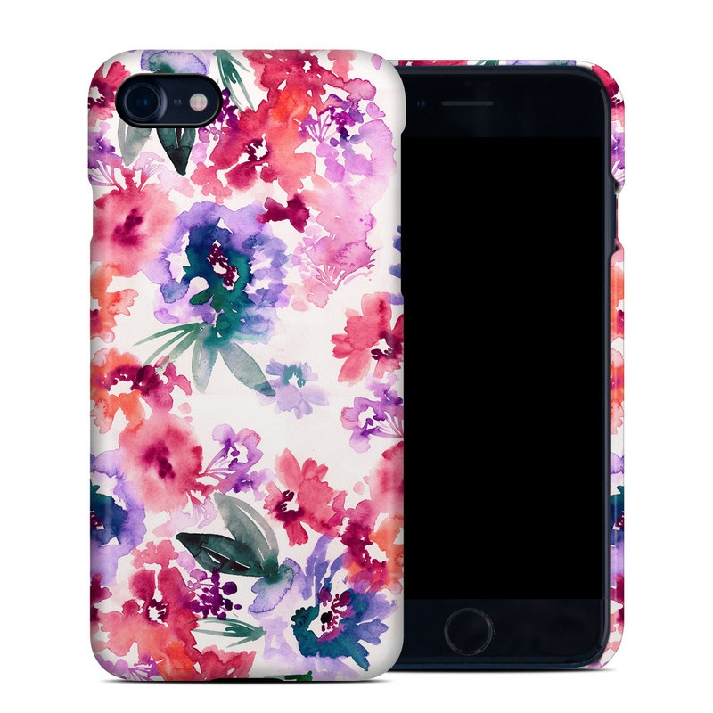 iPhone 8 Clip Case design of Purple, Pattern, Pink, Lilac, Violet, Flower, Watercolor paint, Floral design, Plant, Design with green, pink, red, purple, white colors