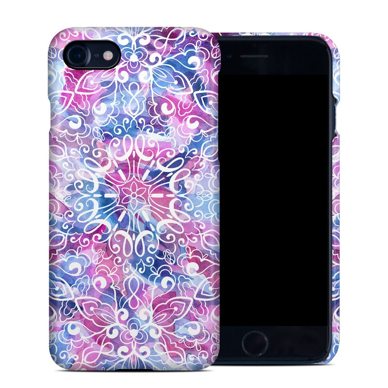 iPhone 8 Clip Case design of Pattern, Pink, Lilac, Design, Textile, Visual arts, Motif, Floral design, Plant with blue, pink, purple, white colors