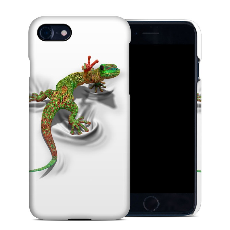 iPhone 8 Clip Case design of Lizard, Reptile, Gecko, Scaled reptile, Green, Iguania, Animal figure, Wall lizard, Fictional character, Iguanidae with white, gray, black, red, green colors