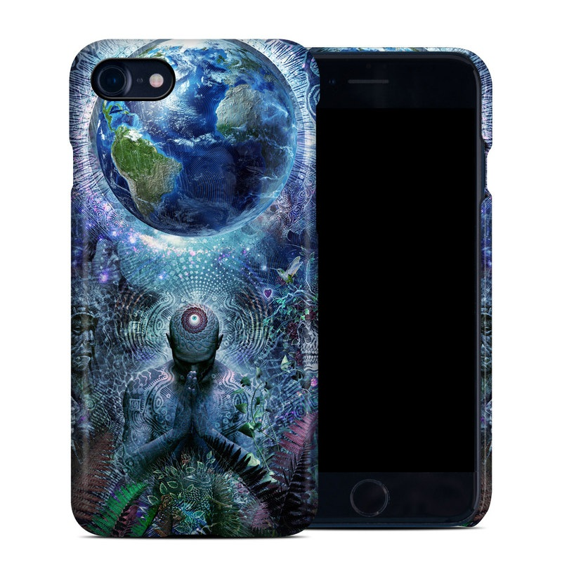 iPhone 8 Clip Case design of Psychedelic art, Fractal art, Art, Space, Organism, Earth, Sphere, Graphic design, Circle, Graphics with blue, green, gray, purple, pink, black, white colors