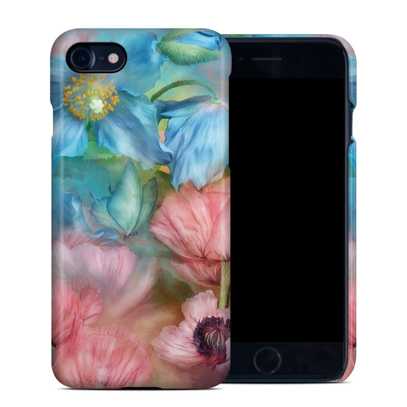 iPhone 8 Clip Case design of Flower, Petal, Watercolor paint, Painting, Plant, Flowering plant, Pink, Botany, Wildflower, Still life with gray, blue, black, red, green colors
