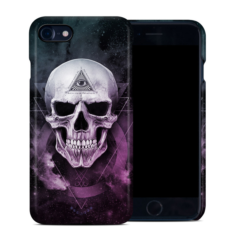 iPhone 8 Clip Case design of Skull, Bone, Illustration, Font, Jaw, Fictional character, Graphic design, Graphics, Art with black, white, gray, purple colors