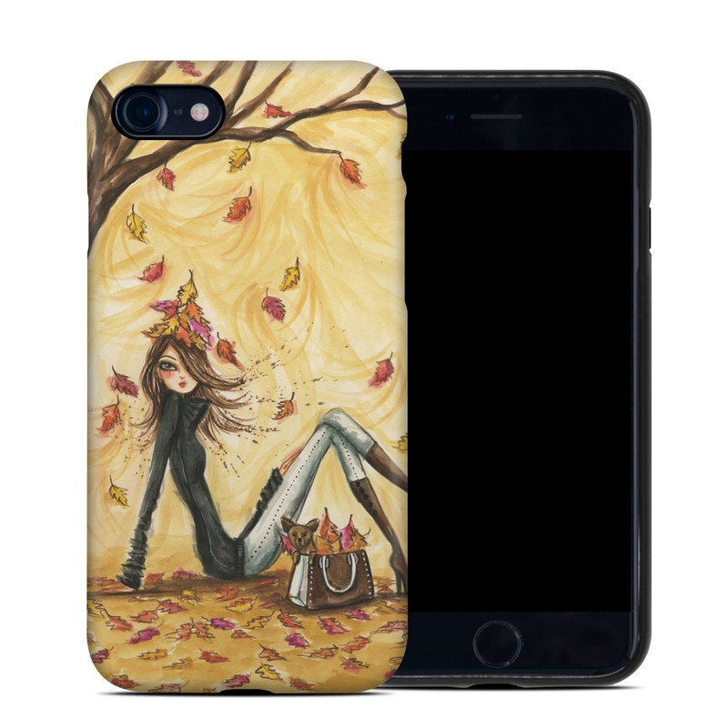 iPhone 8 Hybrid Case design of Painting, Watercolor paint, Tree, Art, Illustration, Plant, Modern art, Visual arts, Still life, Fictional character with yellow, red, brown, orange, black, white colors