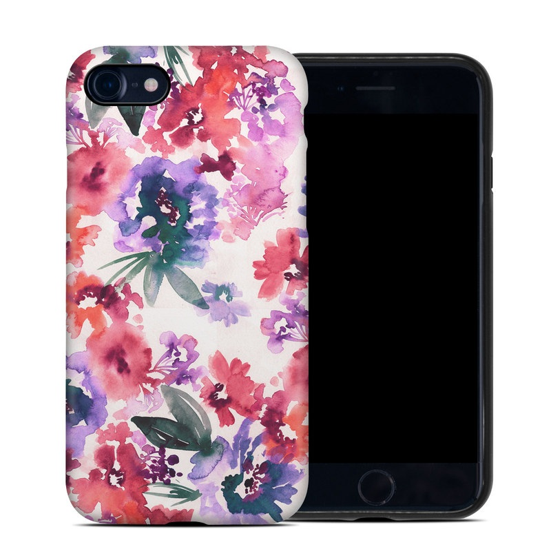 iPhone 8 Hybrid Case design of Purple, Pattern, Pink, Lilac, Violet, Flower, Watercolor paint, Floral design, Plant, Design with green, pink, red, purple, white colors