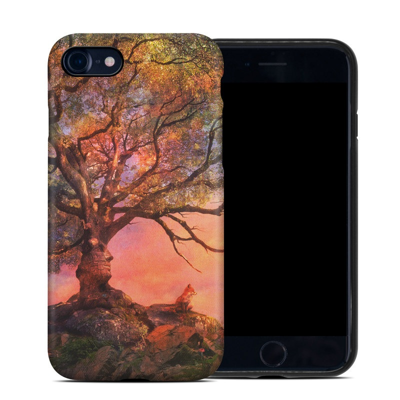 iPhone 8 Hybrid Case design of Nature, Tree, Sky, Natural landscape, Branch, Leaf, Woody plant, Trunk, Landscape, Plant with pink, red, black, green, gray, orange colors