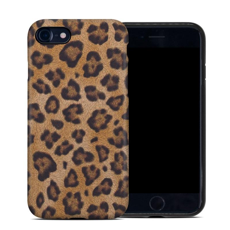 iPhone 8 Hybrid Case design of Pattern, Felidae, Fur, Brown, Design, Terrestrial animal, Close-up, Big cats, African leopard, Organism with orange, black colors