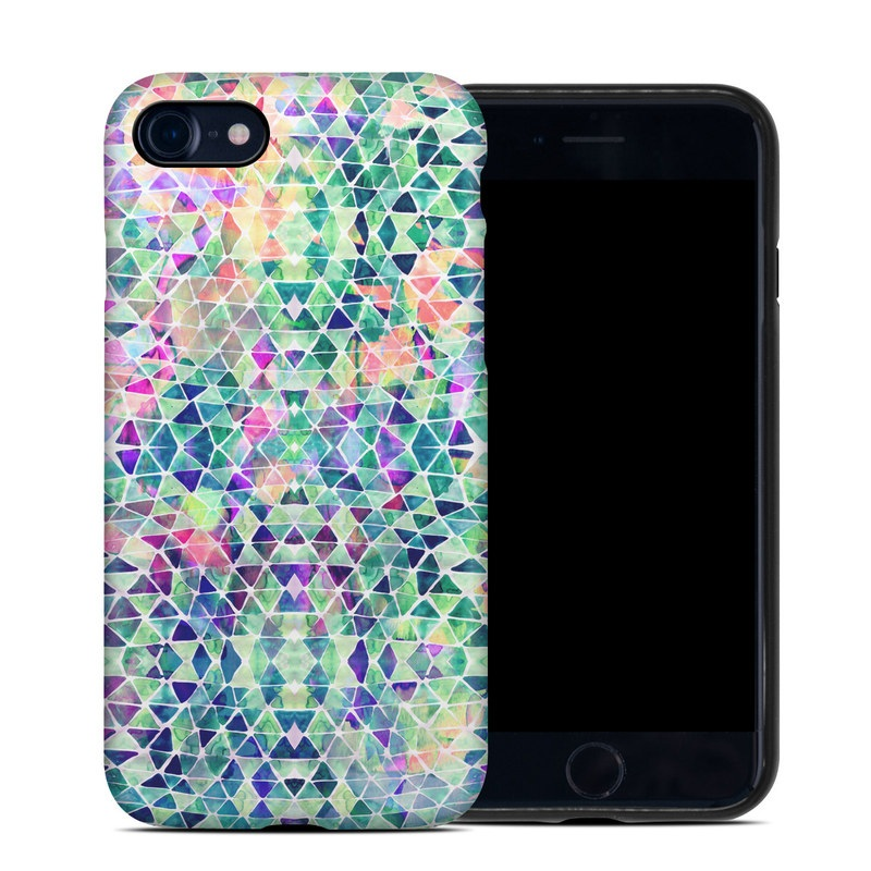 iPhone 8 Hybrid Case design of Pattern, Aqua, Line, Teal, Purple, Turquoise, Design with white, blue, purple, orange, green colors