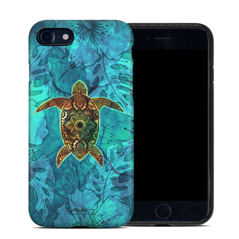 iPhone 8 Hybrid Case design of Sea turtle, Green sea turtle, Turtle, Hawksbill sea turtle, Tortoise, Reptile, Loggerhead sea turtle, Illustration, Art, Pattern with blue, black, green, gray, red colors
