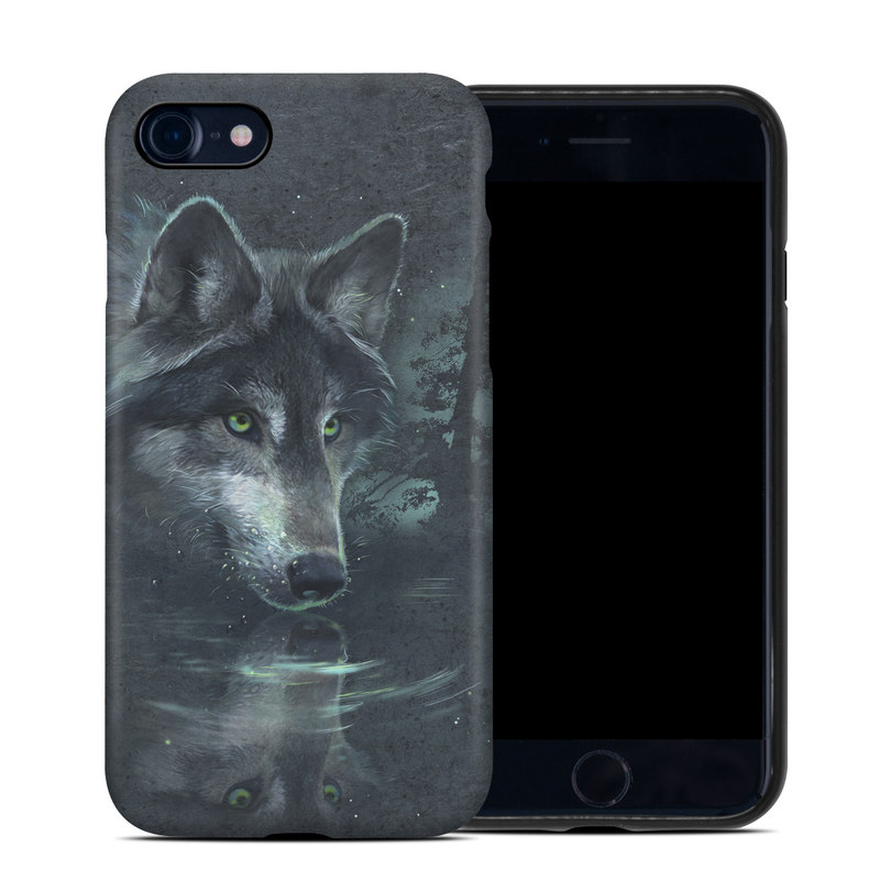 iPhone 8 Hybrid Case design of Wolf, Canidae, Wildlife, Red wolf, Canis, canis lupus tundrarum, Snout, Saarloos wolfdog, Wolfdog, Carnivore with black, gray, blue colors