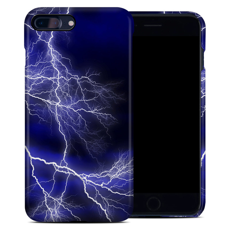iPhone 8 Plus Clip Case design of Thunder, Lightning, Thunderstorm, Sky, Nature, Electric blue, Atmosphere, Daytime, Blue, Atmospheric phenomenon with blue, black, white colors