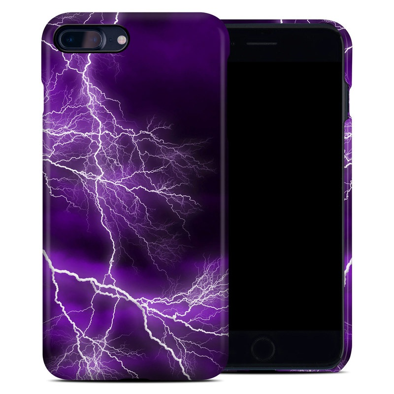 iPhone 8 Plus Clip Case design of Thunder, Lightning, Thunderstorm, Sky, Nature, Purple, Violet, Atmosphere, Storm, Electric blue with purple, black, white colors
