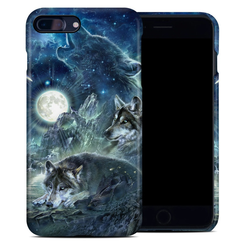 iPhone 8 Plus Clip Case design of Cg artwork, Fictional character, Darkness, Werewolf, Illustration, Wolf, Mythical creature, Graphic design, Dragon, Mythology with black, blue, gray, white colors