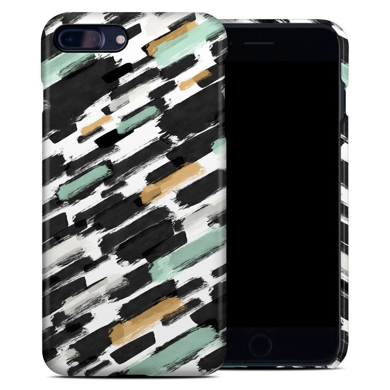 iPhone 8 Plus Clip Case design of Pattern, Line, Design, Material property, Rectangle with black, white, orange, blue, yellow colors